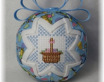 Quilted Ornament - Easter Ornament - Happy Easter/Easter Basket