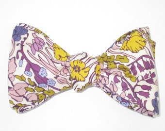 Mens Bow Tie Liberty of London Poppytot Purple Yellow Green Floral Freestyle Self Tie Your Own BowTie
