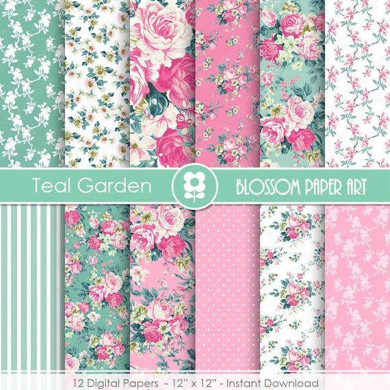 Papeles decorativos flores rosa turquesa floreas papel - Papel para forrar muebles ...