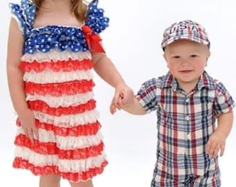 American Flag Dress, Fourth of July, Red White and Blue Petti Lace Ruffle Dress w Rhinestone Embellishment
