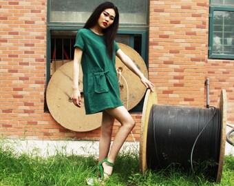 cotton dress linen dress maxi dress green summer dress drawing