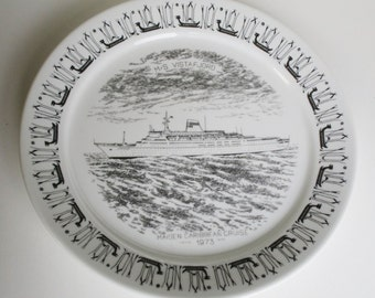 Norwegian M.S. Vistafjord Ship Plate -  Maiden Caribbean Cruise -1973