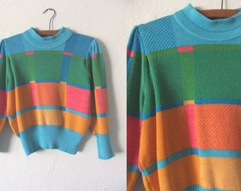 90s Color Block Mock Neck Cropped Sweater - Bright Pastels Slouchy fit Crop Top Jumper - Womens Small