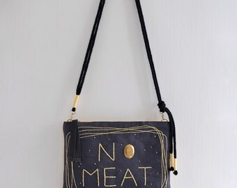 No Meat, light yellow and dark gray simple shoulder bag/clutch, no meat eat green message bag