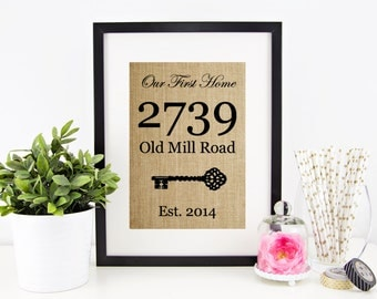House Warming Gift New Home Housewarming Gift Our First Home Burlap Print Personalized