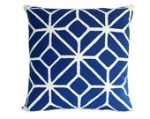 Trina Turk Marine Blue Trellis Print Outdoor Pillow Cover