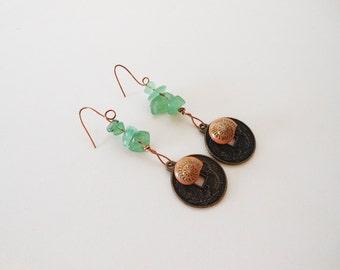 Seashell Earrings - Beach Earrings - Mermaid Jewelry - Ocean Jewelry - Nautical Earrings - Dangle Earrings - Gemstone Jewelry