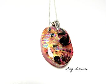 Mermaid and Her Lover - Dichroic Glass Necklace Pendant