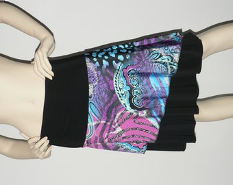 Assymetrical colorful skirt, turquoise, purple and pink