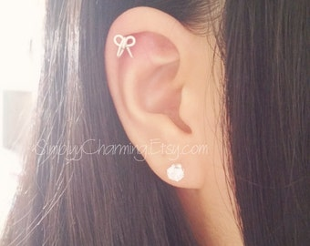 Tiny Bow Cartilage Earring Helix Jewelry - Sterling Silver/14K Gold Filled
