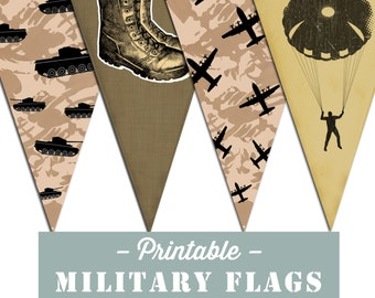 Printable Military theme Army bunting Flags