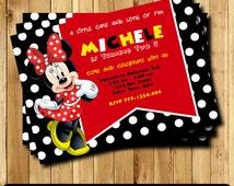 Minnie Mouse  Invitation, Minnie Mouse Birthday, Minnie Mouse Party, Minnie Mouse Printable, Minnie Mouse Card TF-2