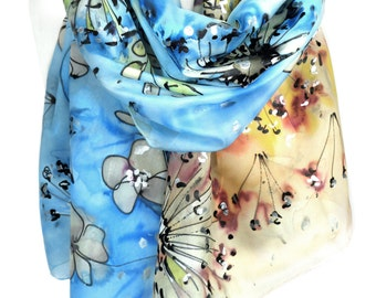 Hand Painted Silk Scarf. Blue Scarf. Anniversary Birthday Gift for Her. Genuine Art. Unique gift Art to Wear Women Scarf. 18x71in Ready2Ship