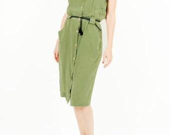 Vintage silk safari freen dress belted woman size medium / large
