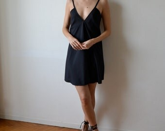 Black backless mini dress / Backless dress / LBD / Low back mini dress / Silk dress /