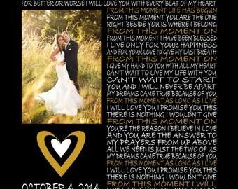 Custom Wedding Song Lyric Art with Photo, Wedding Song, Wedding Lyrics, Wedding Photo, Anniversary, Valentines Day