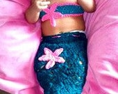 Newborn Crocheted Mermaid Outfit, Baby Girl Shower Outfit, Blue Mermaid Photo Prop, Newborn Photo Prop, Croched headband, Pink Mermaid