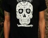SUGAR SKULL T SHIRT mens boys day of the dead top black tattoo screen print art clothing mask fabric calavera dia de los muertos mexican new