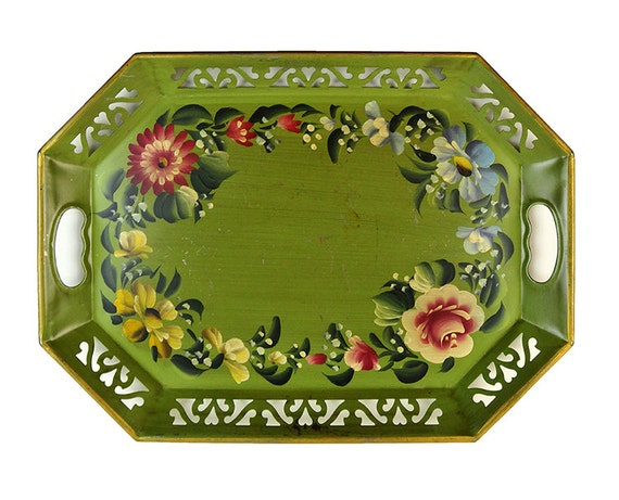 Metal Tray, Tole Hand Painted, Octagonal, Floral, Flowers, Blue, Red, Green, 1950s, Mid-Century