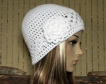 Crochet Beanie, Womens White Hat, Crochet Wool Winter Hat With Large Crochet Flower, Student Beanie, Australia