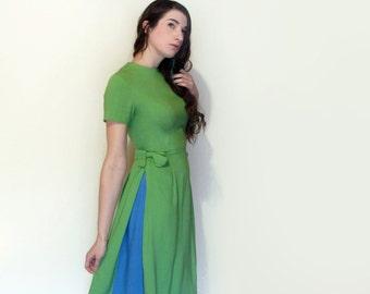 50's Linen Dress Contrast Side Panels