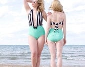 Jo Jo Plunging Neck Line High Waist Bow One-Piece