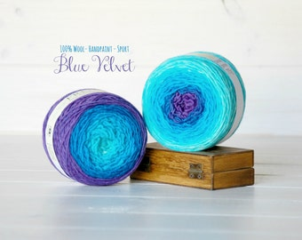 2 Hand Dyed Yarn Balls - 100% Wool - Color: Blue Velvet Ombre - 1Ply Sport Yarn - Colorful Soft Yarns by Freia - 2 Balls - Ombre Yarns