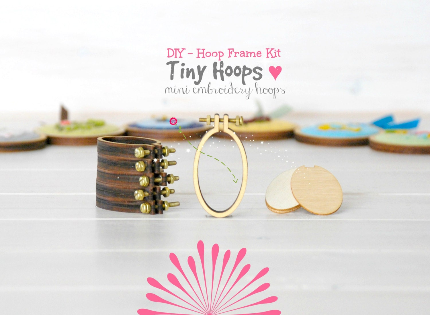 Diy tiny embroidery hoop frame kit mm