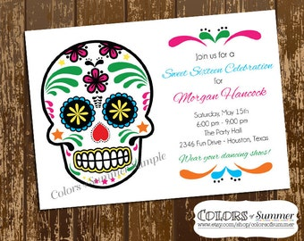 Sugar Skull  Birthday Invitation, Sweet Sixteen, Sweet 16, Dias de Los Mortes  - Digital File