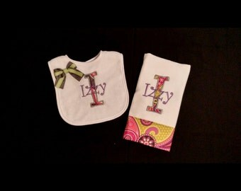 Baby Girls Paisley Personalized Bib and Burp Cloth Set