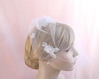 Bridal blusher veil, Swiss lace adornment, white wedding veil, soft tulle Style 624