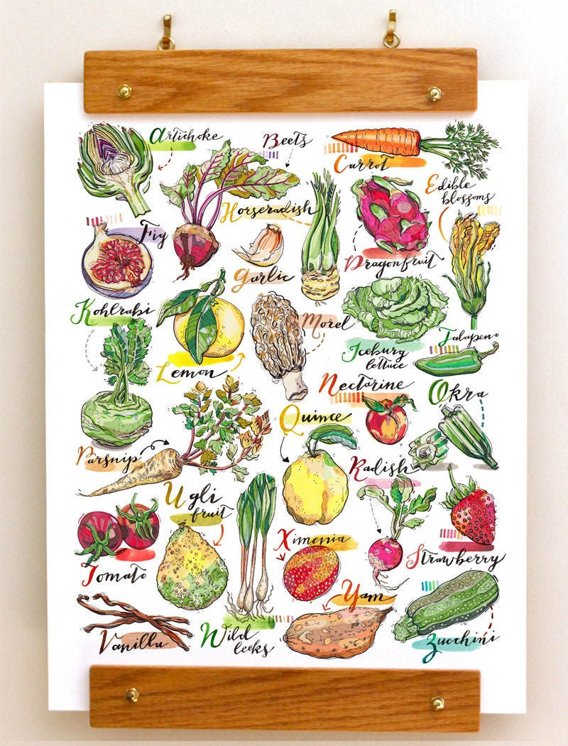 alphabet fruit and vegetables print abc nursery kitchen