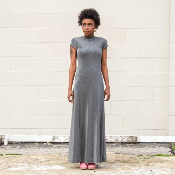 Mock Neck Stereo Rose Embellished Maxi Dress