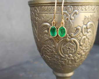 Emerald Earrings,14kt Yellow Gold Earrings - Oval, Dangle, May Birthstone, Simple Earrings, Bridesmaids Gifts, Everyday Earrings