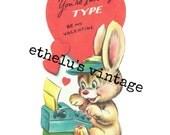 vintage Valentine DIGITAL DOWNLOAD • typing bunny • 1950's Valentine • JPEG digital download