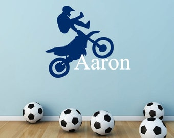 Kids Personalized Motorcross Wall Decal, Dirt Bike, Motorcycle, Racing, Bike Stunts, Kid Room Wall Decal, Nursery Wall Decal, Wall Art Decor