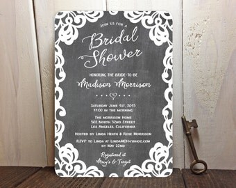 Rustic Chalkboard Lace Bridal Shower Invitations - FREE CUSTOM COLORS - Peach, Blush Pink White and Gray - Printed Invites with Envelopes