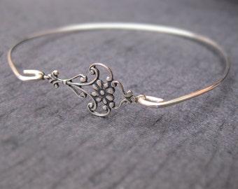 Sterling Silver Moroccan Bangle Bracelet, Oxidized Silver Boho Gypsy Bracelet, Hipster Jewelry, Boho Chic Bracelet, Bohemian Jewelry