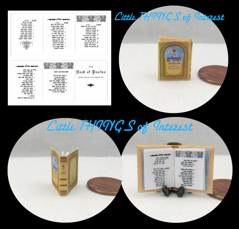 The JEWISH HEBREW Book Of PSALMS Miniature Book Dollhouse