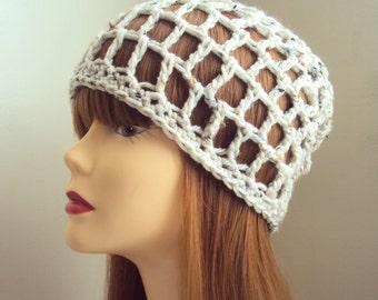 Boho Beanie Crochet Hat  Oatmeal Festival Hat Women Men Hair Accessories Gift Ideas