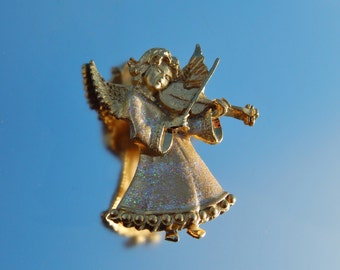 Vintage Gold Angel Pin, Angel Playing Violin Pin, Musical Angel Pin, Angel Mother's Day Gift