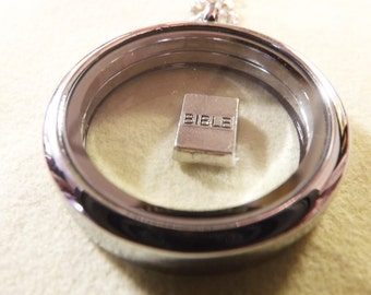 Bible Charm Silver Bible charm bible locket charm bible floating locket charm