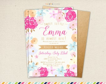 Girl Baby Shower Invitation - Gold and Pink Summer Spring