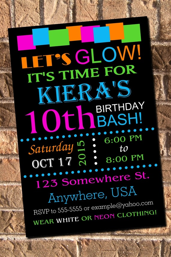 neon glow party invitations free