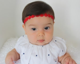 Birthday Headband, Red Headband, Baby Girl Gift, Newborn Headband, Infant Headbands, Red Flower Headband, Baby Halo Headband, Baby Headband