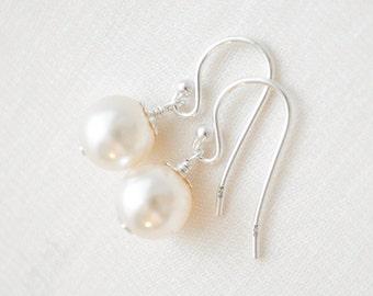 Small Pearl Earrings, Ivory Pearl Earrings, Wedding Earrings