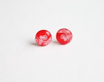 10 mm small studs, small stud earrings, red earrings, red studs,  tiny studs, valentine, swirly,  red posts,red stud earrings