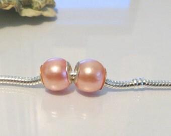 European Style Bead Charm for European Bracelet, 925 Silver Core, Round, Peach