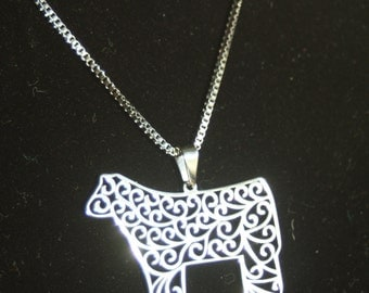 Stainless steel Show steer filigree pendant necklace