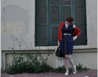Dark Blue Sleeveless Pencil Dress with Red and White Detailing